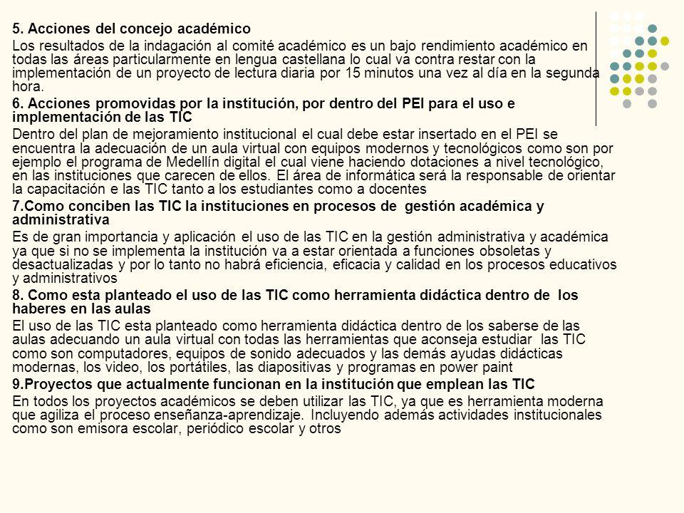 5. Acciones del concejo académico Los resultados de la indagación al comité académico es un bajo rendimiento académico en todas las áreas particularme