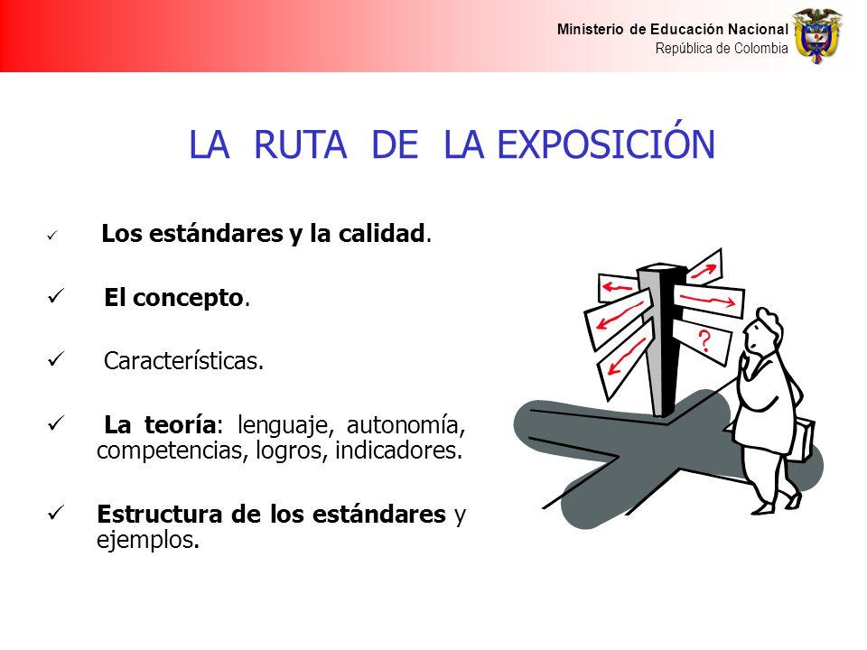 Ministerio de Educación Nacional República de Colombia LA RUTA DE LA EXPOSICIÓN Los estándares y la calidad. El concepto. Características. La teoría: