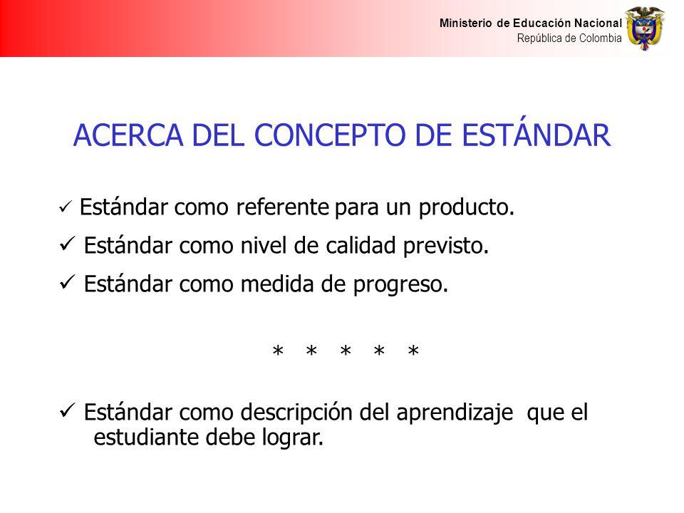 Ministerio de Educación Nacional República de Colombia ACERCA DEL CONCEPTO DE ESTÁNDAR Estándar como referente para un producto. Estándar como nivel d