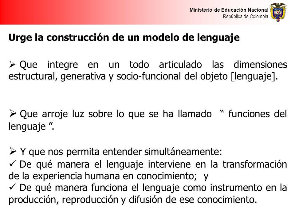 Ministerio de Educación Nacional República de Colombia Urge la construcción de un modelo de lenguaje Que integre en un todo articulado las dimensiones