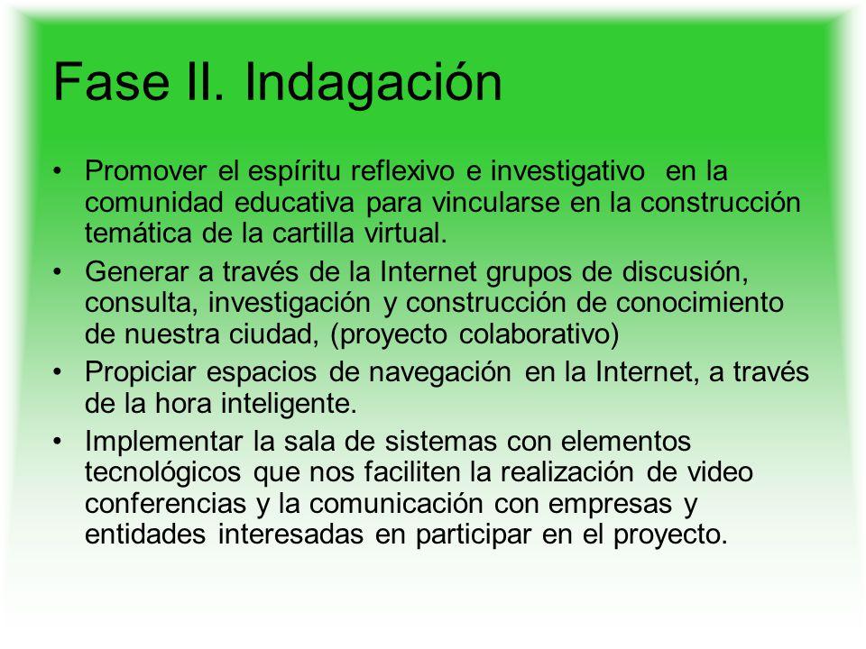 Fase II. Indagación Promover el espíritu reflexivo e investigativo en la comunidad educativa para vincularse en la construcción temática de la cartill