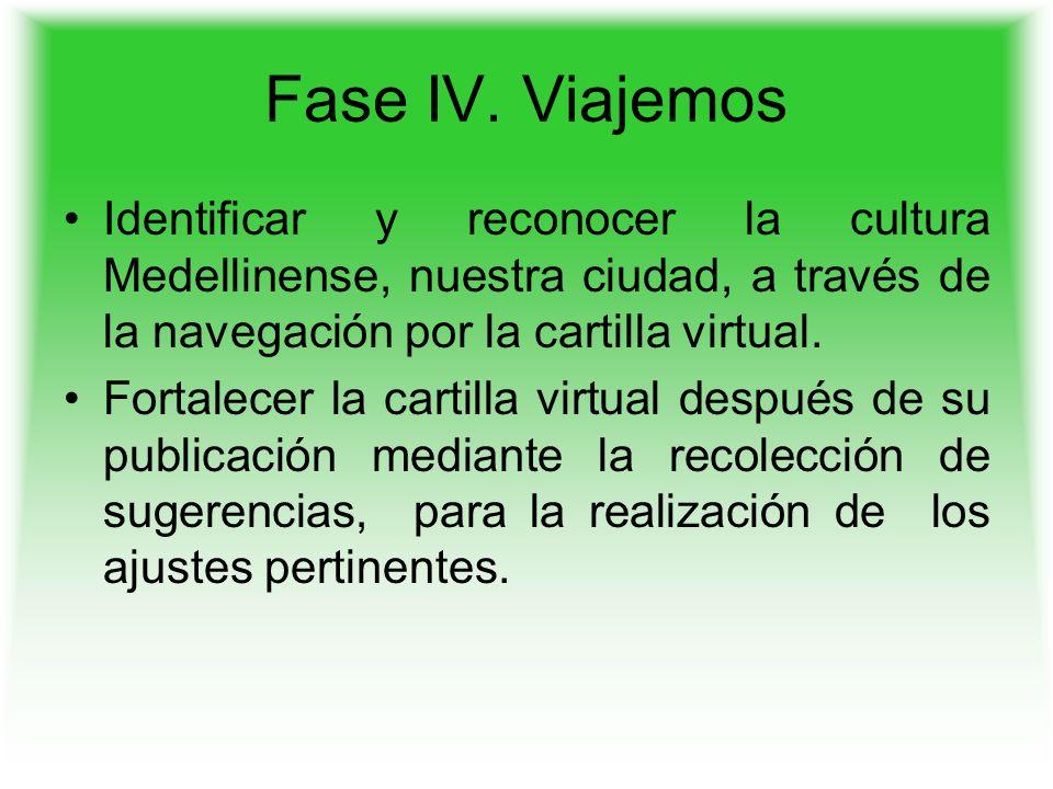 Fase IV. Viajemos Identificar y reconocer la cultura Medellinense, nuestra ciudad, a través de la navegación por la cartilla virtual. Fortalecer la ca