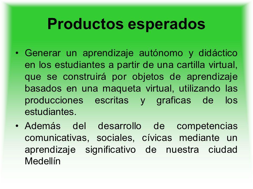 Productos esperados Generar un aprendizaje autónomo y didáctico en los estudiantes a partir de una cartilla virtual, que se construirá por objetos de