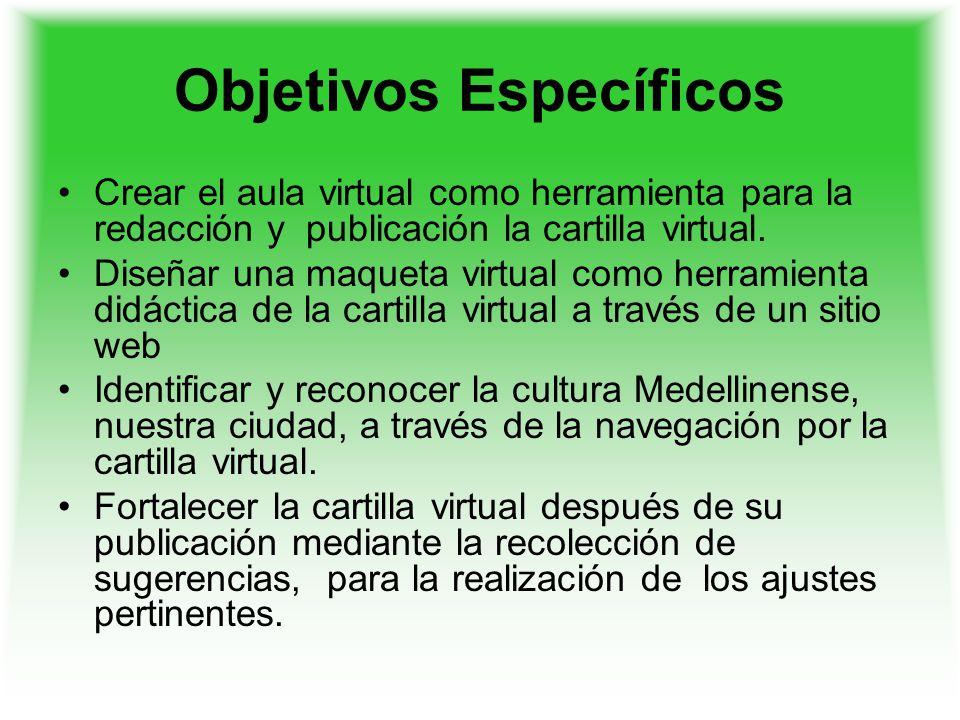 Objetivos Específicos Crear el aula virtual como herramienta para la redacción y publicación la cartilla virtual. Diseñar una maqueta virtual como her