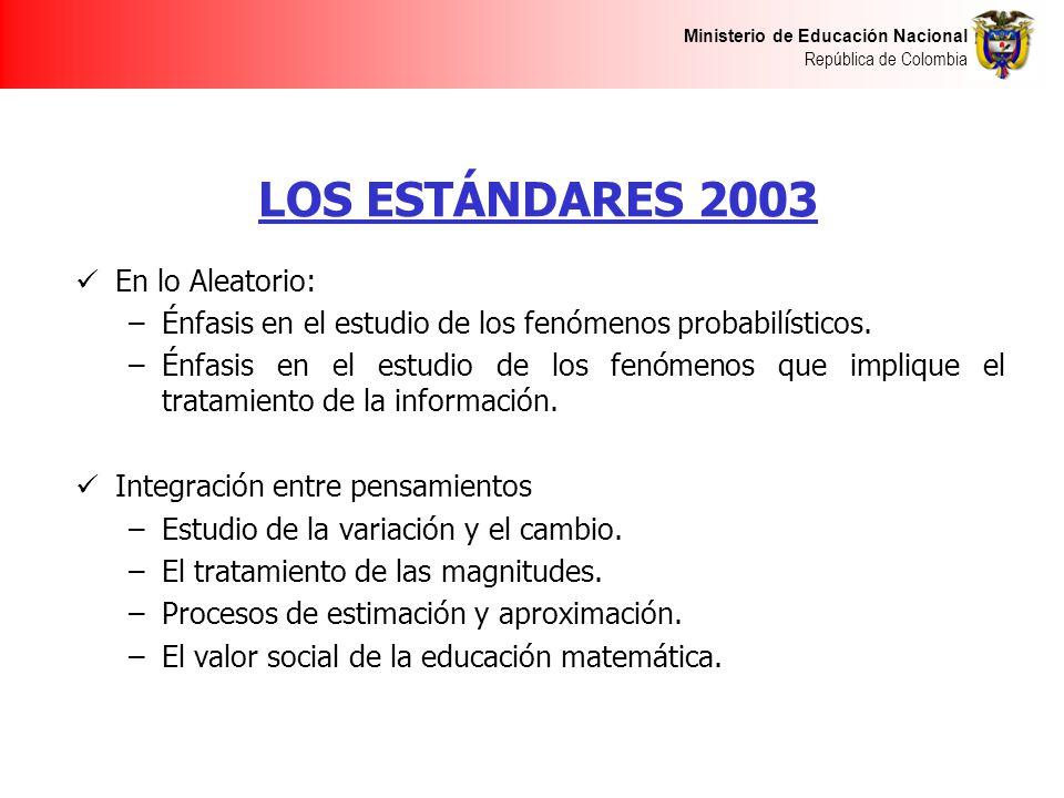 Ministerio de Educación Nacional República de Colombia LOS ESTÁNDARES 2003 En lo Aleatorio: –Énfasis en el estudio de los fenómenos probabilísticos. –