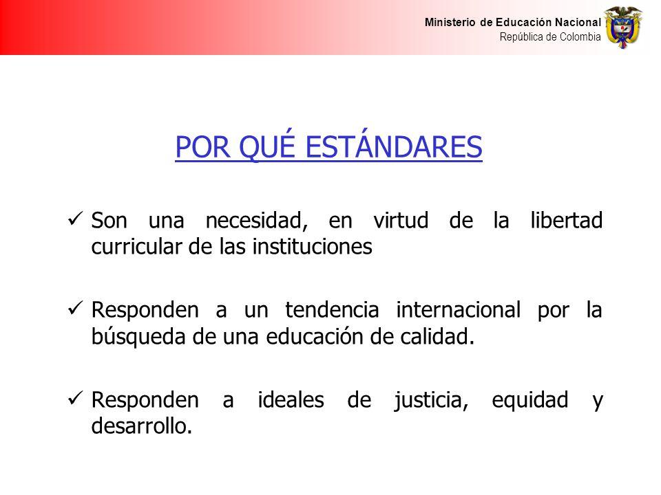 Ministerio de Educación Nacional República de Colombia POR QUÉ ESTÁNDARES Son una necesidad, en virtud de la libertad curricular de las instituciones