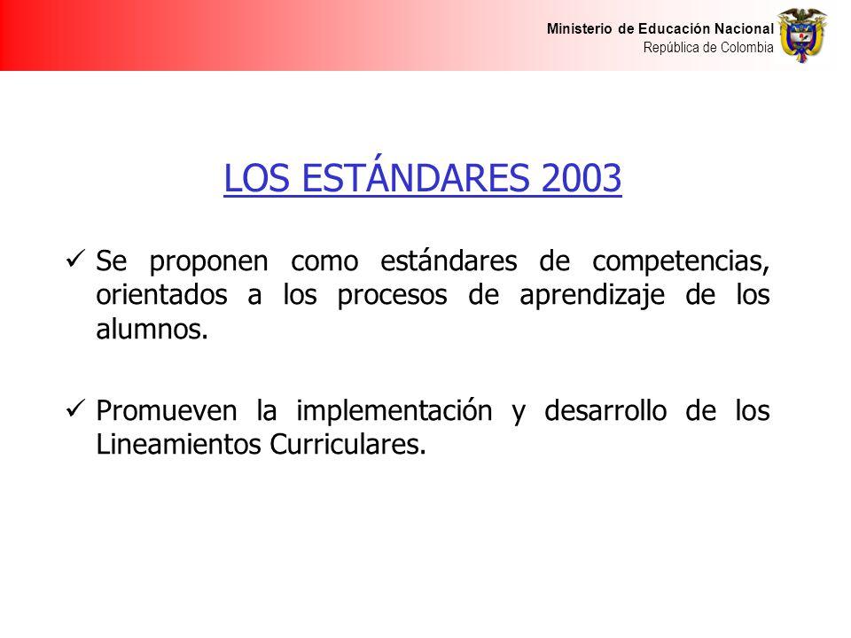 Ministerio de Educación Nacional República de Colombia LOS ESTÁNDARES 2003 Se proponen como estándares de competencias, orientados a los procesos de a