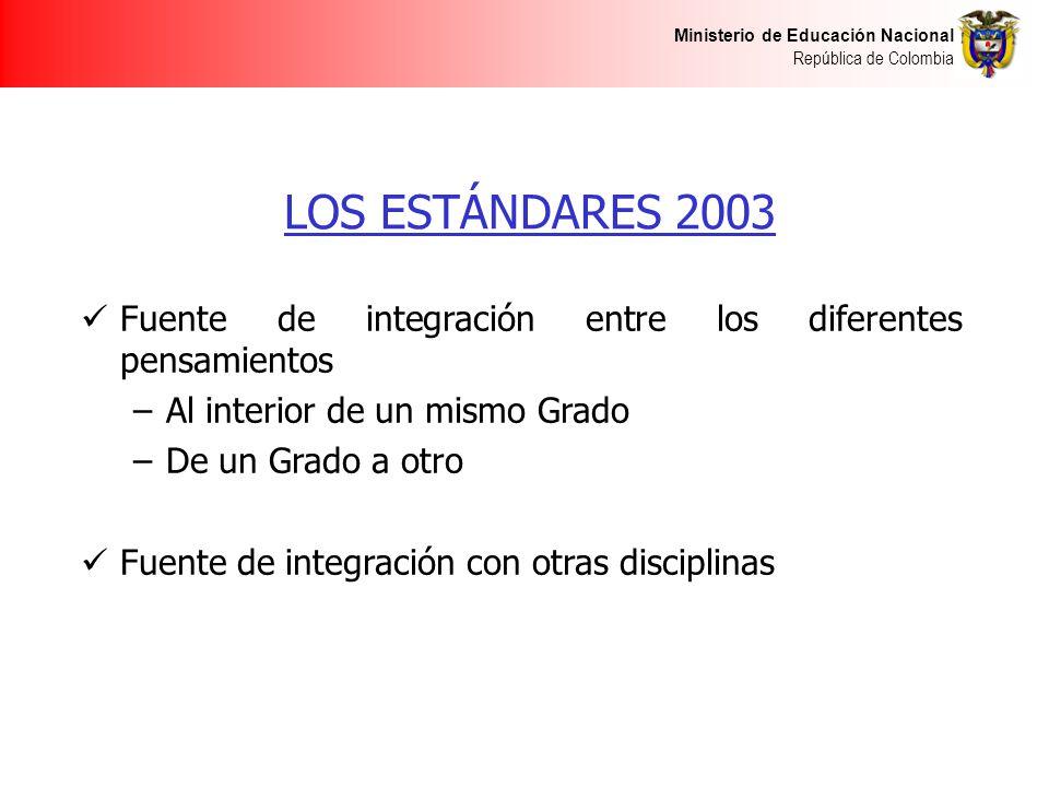 Ministerio de Educación Nacional República de Colombia LOS ESTÁNDARES 2003 Fuente de integración entre los diferentes pensamientos –Al interior de un