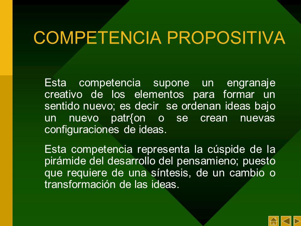 COMPETENCIA PROPOSITIVA Esta competencia supone un engranaje creativo de los elementos para formar un sentido nuevo; es decir se ordenan ideas bajo un nuevo patr{on o se crean nuevas configuraciones de ideas.