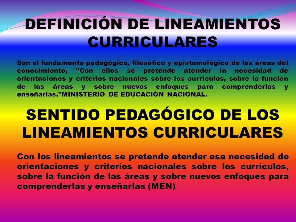 DEFINICIÓN DE LINEAMIENTOS CURRICULARES Son el fundamento pedagógico, filosófico y epistemológico de las áreas del conocimiento,