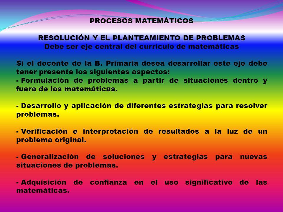 PROCESOS MATEMÁTICOS RESOLUCIÓN Y EL PLANTEAMIENTO DE PROBLEMAS Debe ser eje central del currículo de matemáticas Si el docente de la B. Primaria dese