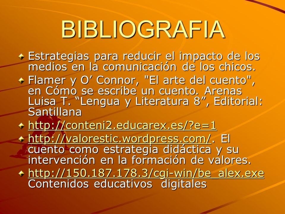 BIBLIOGRAFIA Estrategias para reducir el impacto de los medios en la comunicación de los chicos. Flamer y O Connor,