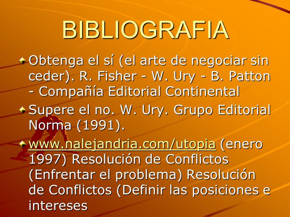 BIBLIOGRAFIA Obtenga el sí (el arte de negociar sin ceder). R. Fisher - W. Ury - B. Patton - Compañía Editorial Continental Supere el no. W. Ury. Grup