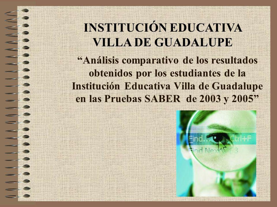 Análisis comparativo de los resultados obtenidos por los estudiantes de la Institución Educativa Villa de Guadalupe en las Pruebas SABER de 2003 y 2005 INSTITUCIÓN EDUCATIVA VILLA DE GUADALUPE