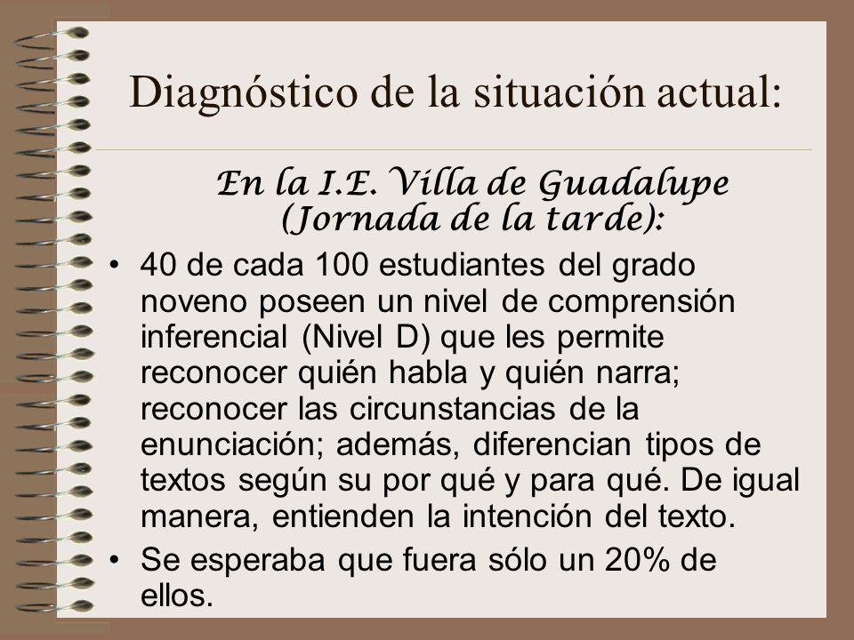 Diagnóstico de la situación actual: En la I.E.