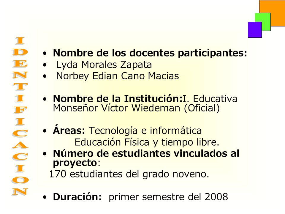 Nombre de los docentes participantes: Lyda Morales Zapata Norbey Edian Cano Macias Nombre de la Institución:I. Educativa Monseñor Víctor Wiedeman (Ofi
