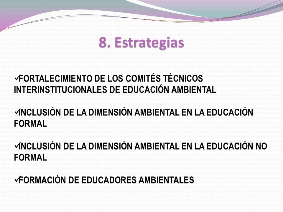 8. Estrategias FORTALECIMIENTO DE LOS COMITÉS TÉCNICOS INTERINSTITUCIONALES DE EDUCACIÓN AMBIENTAL INCLUSIÓN DE LA DIMENSIÓN AMBIENTAL EN LA EDUCACIÓN