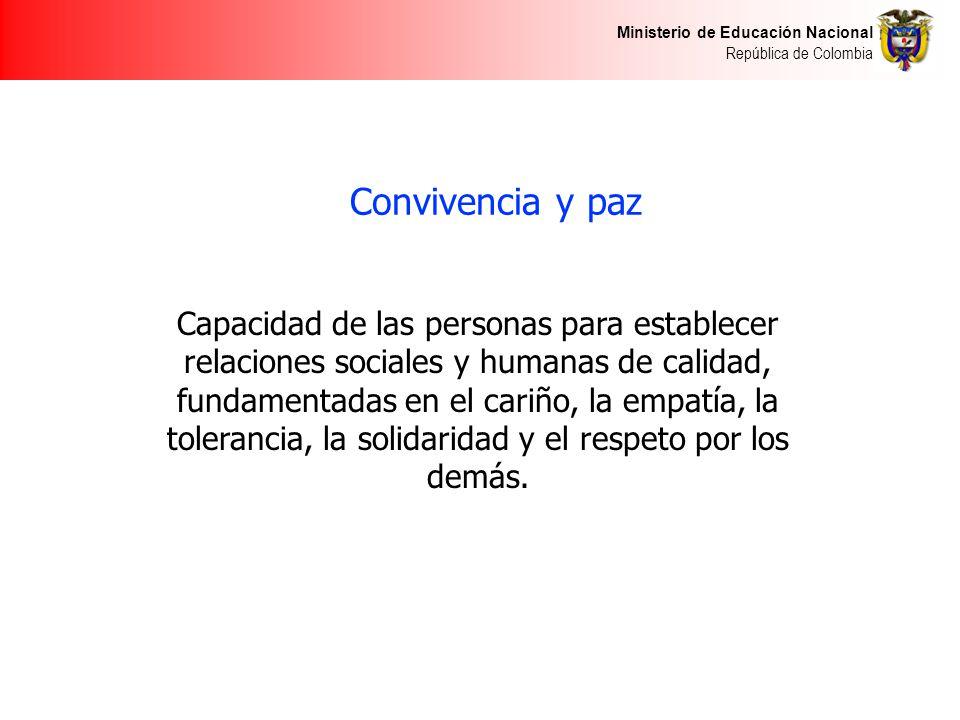 Ministerio de Educación Nacional República de Colombia Convivencia y paz Capacidad de las personas para establecer relaciones sociales y humanas de ca