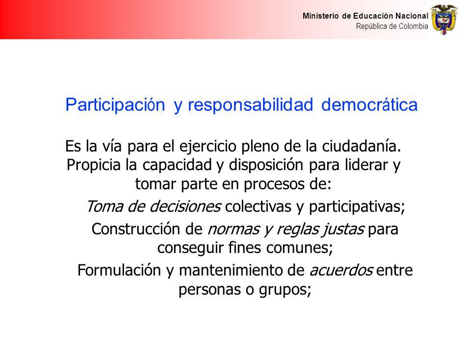 Ministerio de Educación Nacional República de Colombia Participaci ó n y responsabilidad democr á tica Es la vía para el ejercicio pleno de la ciudadanía.