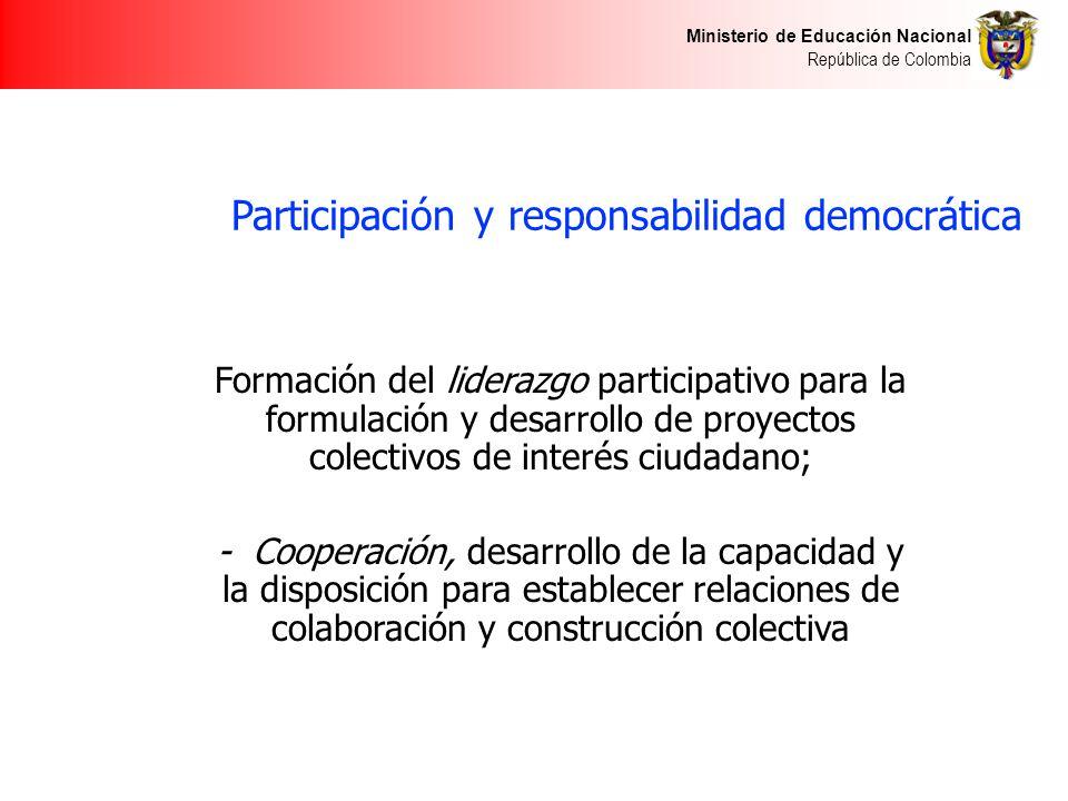 Ministerio de Educación Nacional República de Colombia Participación y responsabilidad democrática Formación del liderazgo participativo para la formu