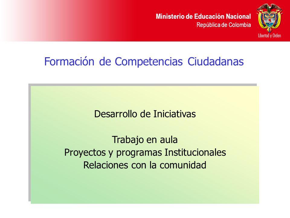 Ministerio de Educación Nacional República de Colombia Formación de Competencias Ciudadanas Desarrollo de Iniciativas Trabajo en aula Proyectos y prog