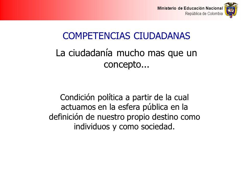Ministerio de Educación Nacional República de Colombia Condición política a partir de la cual actuamos en la esfera pública en la definición de nuestro propio destino como individuos y como sociedad.