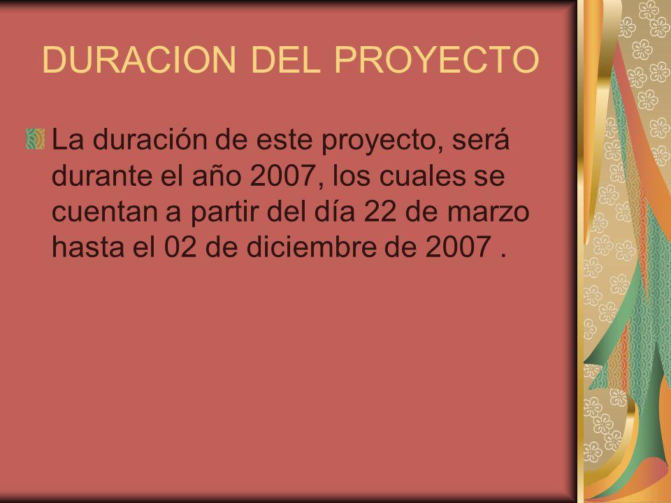 DURACION DEL PROYECTO La duración de este proyecto, será durante el año 2007, los cuales se cuentan a partir del día 22 de marzo hasta el 02 de diciem