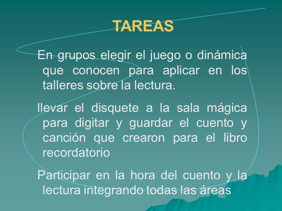 TAREAS En grupos elegir el juego o dinámica que conocen para aplicar en los talleres sobre la lectura. llevar el disquete a la sala mágica para digita