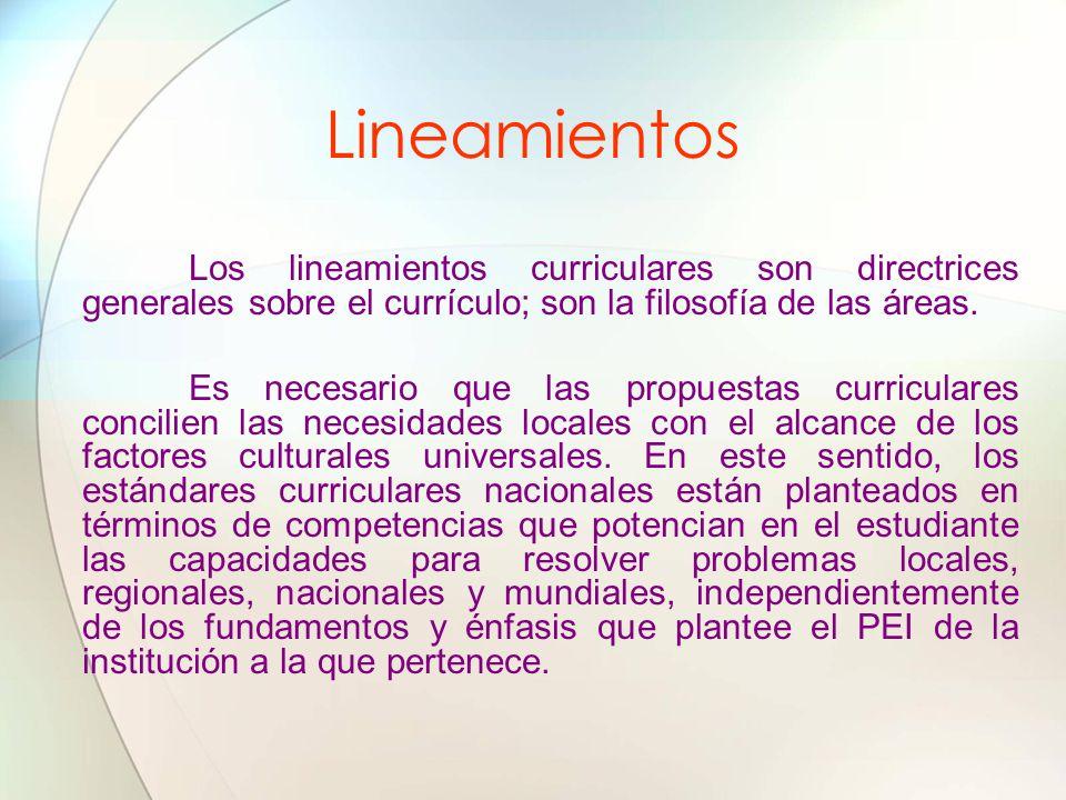 Lineamientos Los lineamientos curriculares son directrices generales sobre el currículo; son la filosofía de las áreas. Es necesario que las propuesta