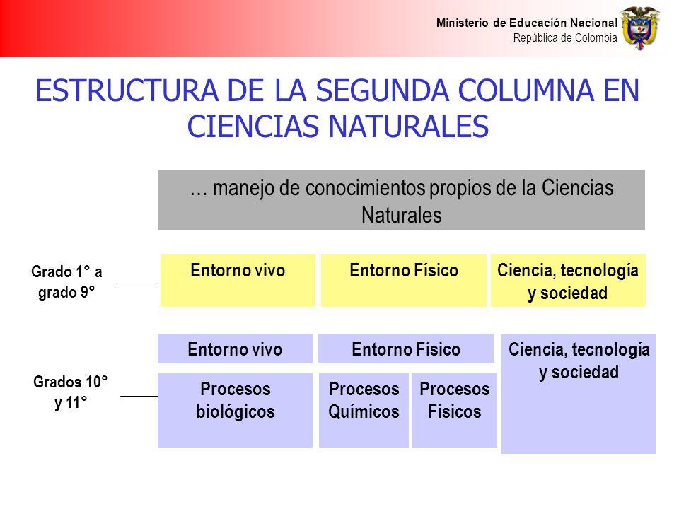 Ministerio de Educación Nacional República de Colombia ESTRUCTURA DE LA SEGUNDA COLUMNA EN CIENCIAS NATURALES … manejo de conocimientos propios de la