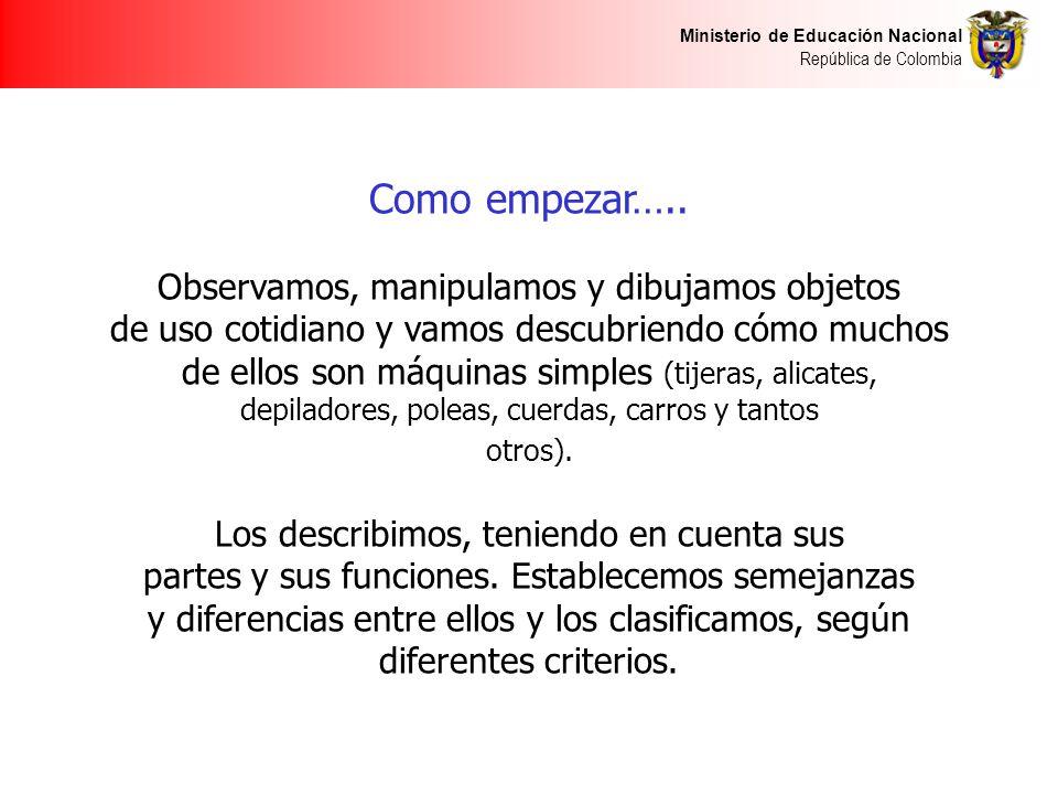 Ministerio de Educación Nacional República de Colombia Como empezar….. Observamos, manipulamos y dibujamos objetos de uso cotidiano y vamos descubrien