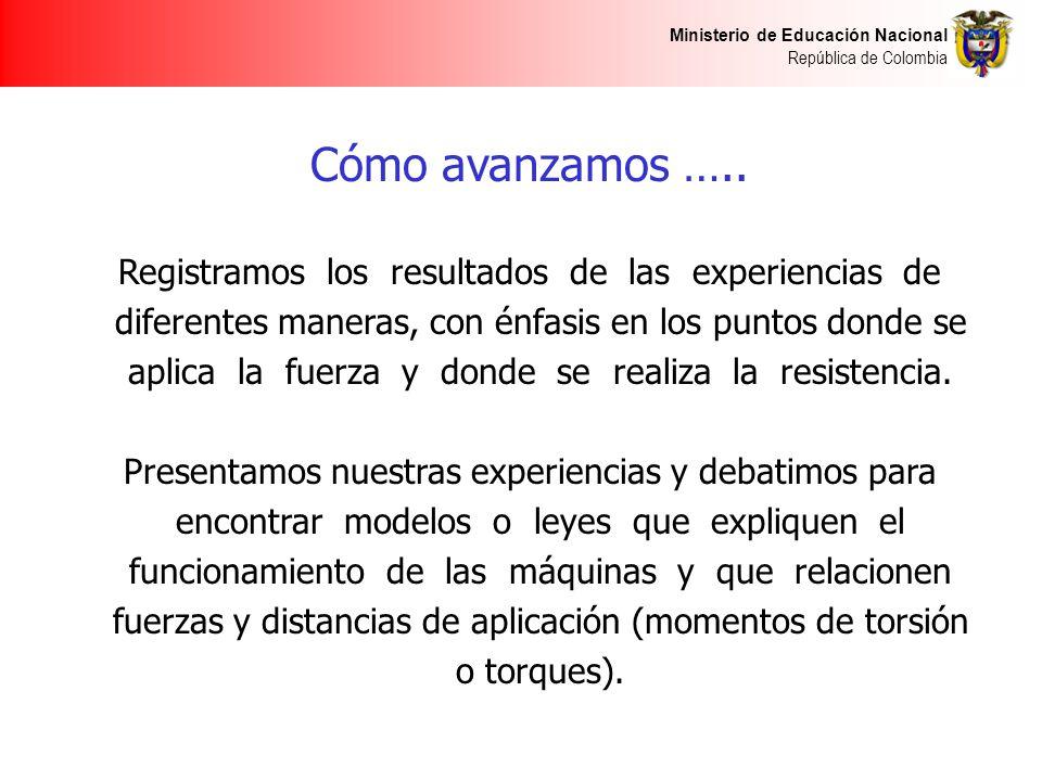 Ministerio de Educación Nacional República de Colombia Cómo avanzamos ….. Registramos los resultados de las experiencias de diferentes maneras, con én