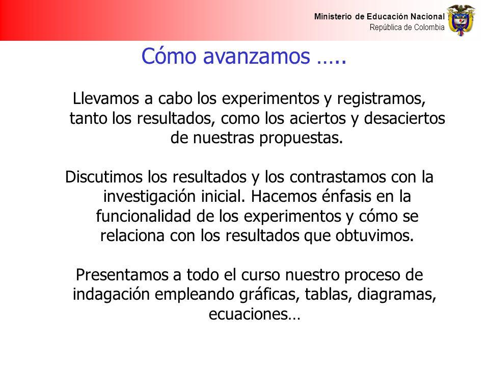 Ministerio de Educación Nacional República de Colombia Cómo avanzamos ….. Llevamos a cabo los experimentos y registramos, tanto los resultados, como l