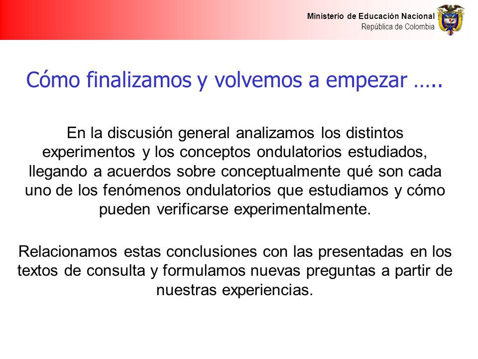 Ministerio de Educación Nacional República de Colombia Cómo finalizamos y volvemos a empezar ….. En la discusión general analizamos los distintos expe