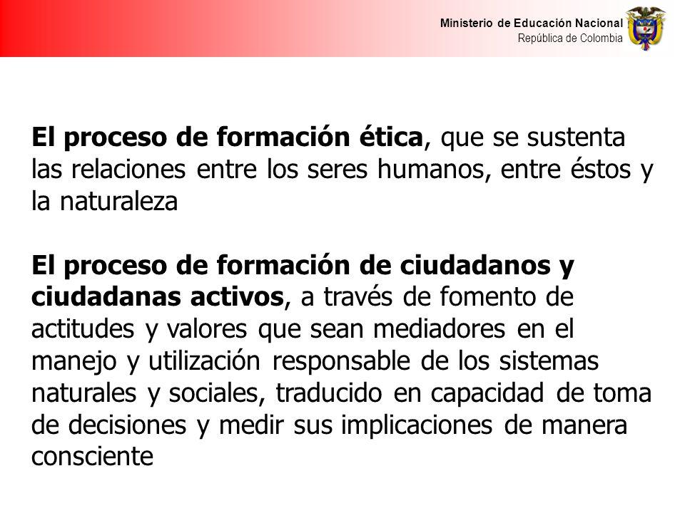 Ministerio de Educación Nacional República de Colombia El proceso de formación ética, que se sustenta las relaciones entre los seres humanos, entre és