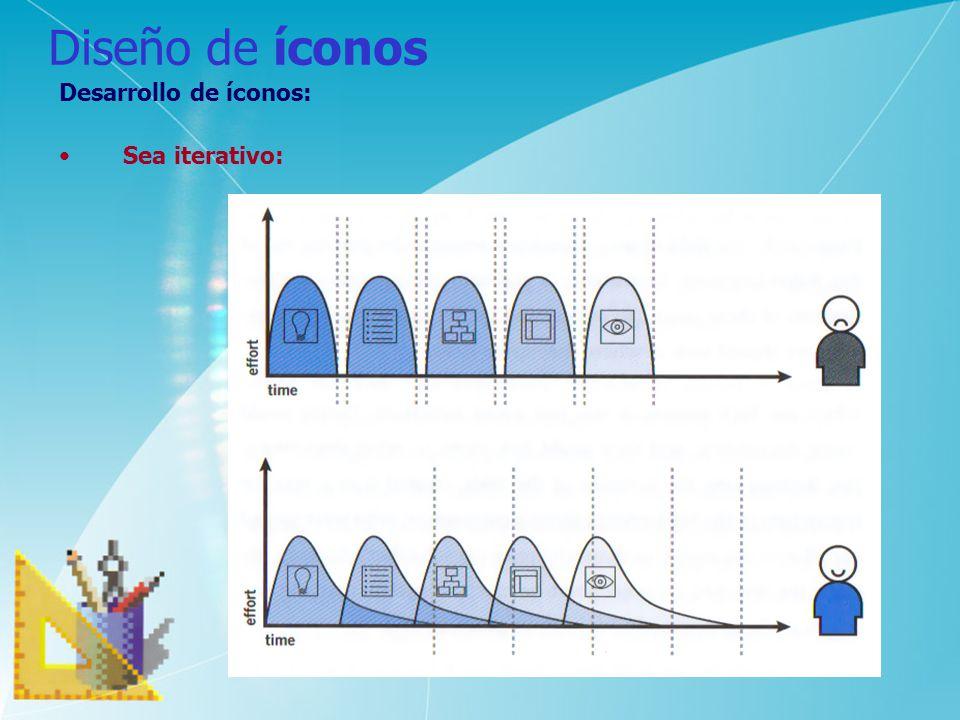 Diseño de íconos Desarrollo de íconos: Sea iterativo: