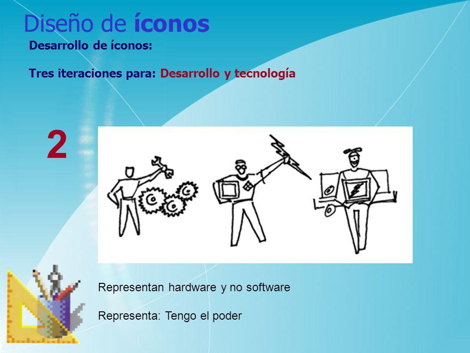 Diseño de íconos Desarrollo de íconos: Tres iteraciones para: Desarrollo y tecnología 2 Representan hardware y no software Representa: Tengo el poder