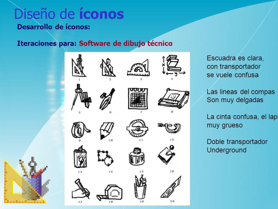 Diseño de íconos Desarrollo de íconos: Iteraciones para: Software de dibujo técnico Escuadra es clara, con transportador se vuele confusa Las lineas d