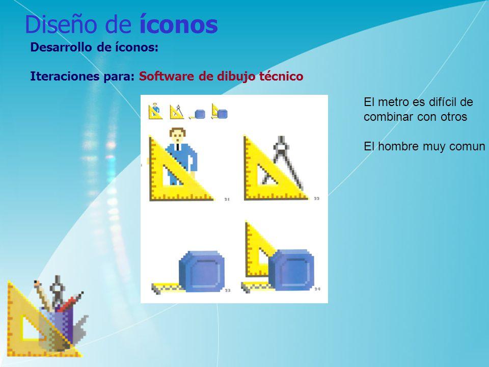 Diseño de íconos Desarrollo de íconos: Iteraciones para: Software de dibujo técnico El metro es difícil de combinar con otros El hombre muy comun