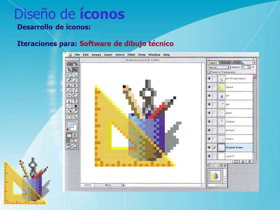 Diseño de íconos Desarrollo de íconos: Iteraciones para: Software de dibujo técnico