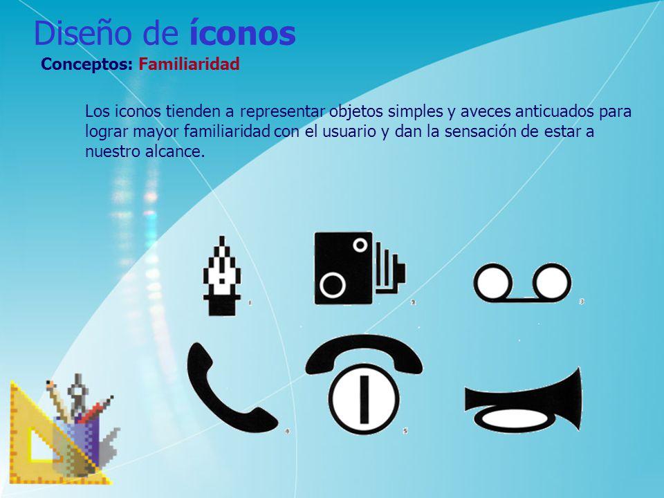 Diseño de íconos Conceptos: Familiaridad Los iconos tienden a representar objetos simples y aveces anticuados para lograr mayor familiaridad con el us