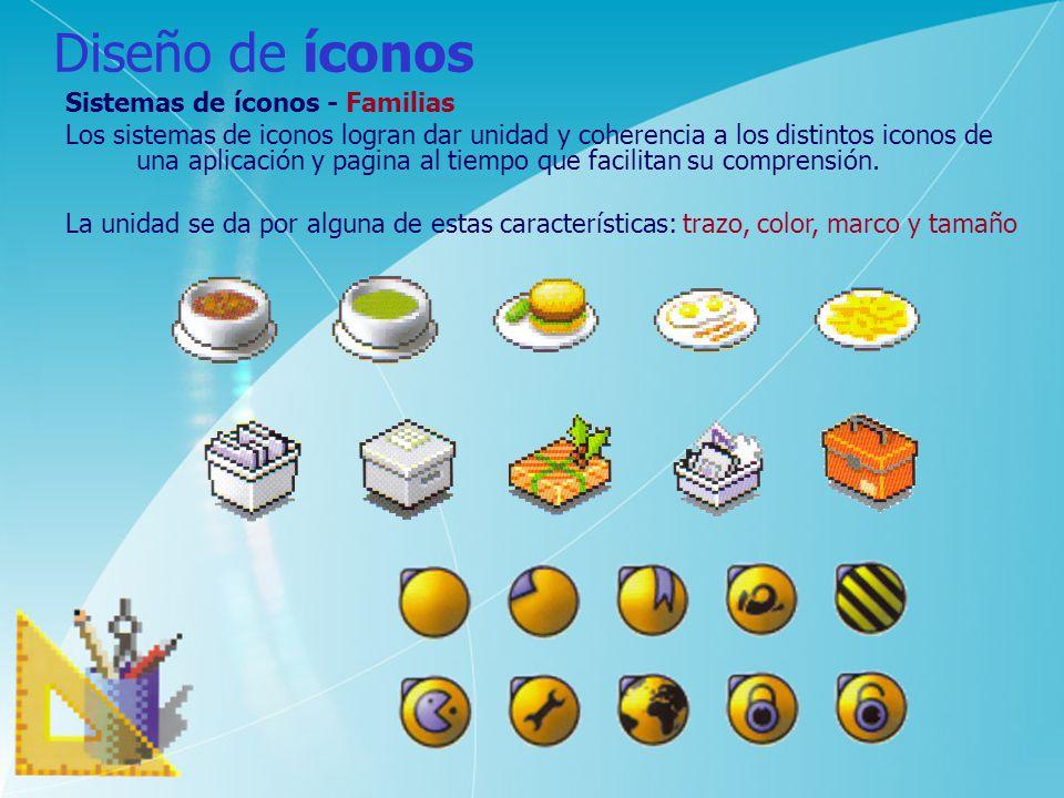 Diseño de íconos Sistemas de íconos - Familias Los sistemas de iconos logran dar unidad y coherencia a los distintos iconos de una aplicación y pagina