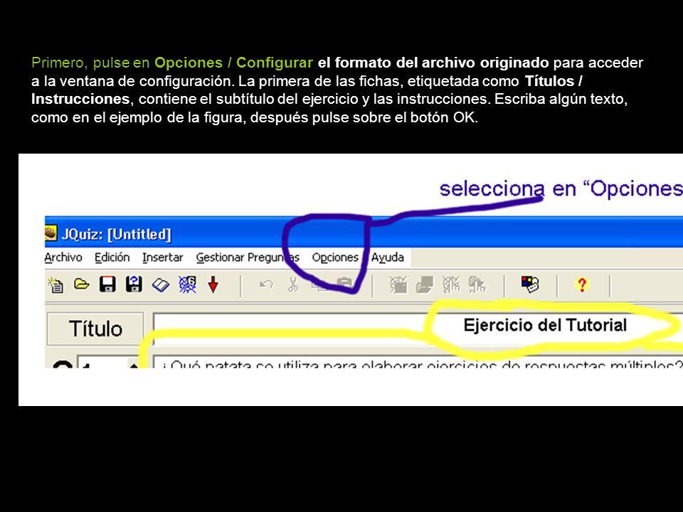 Primero, pulse en Opciones / Configurar el formato del archivo originado para acceder a la ventana de configuración. La primera de las fichas, etiquet