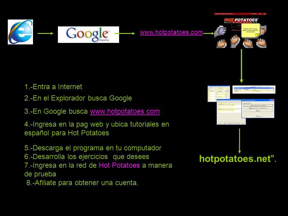 2.-En el Explorador busca Google 3.-En Google busca www.hotpotatoes.comwww.hotpotatoes.com 4.-Ingresa en la pag web y ubica tutoriales en español para