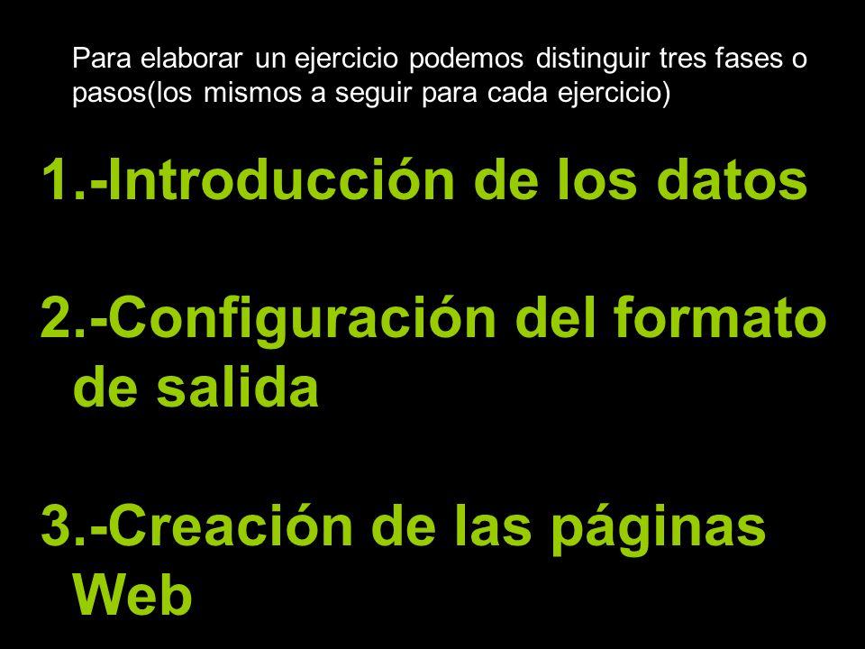Para elaborar un ejercicio podemos distinguir tres fases o pasos(los mismos a seguir para cada ejercicio) 1.-Introducción de los datos 2.-Configuració