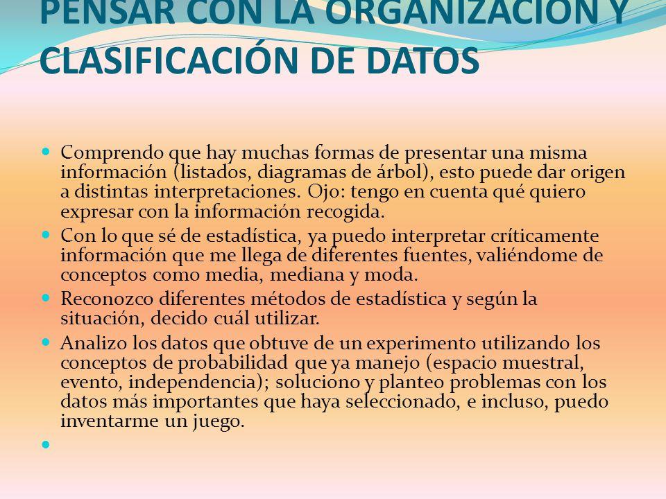PENSAR CON LA ORGANIZACIÓN Y CLASIFICACIÓN DE DATOS Comprendo que hay muchas formas de presentar una misma información (listados, diagramas de árbol),