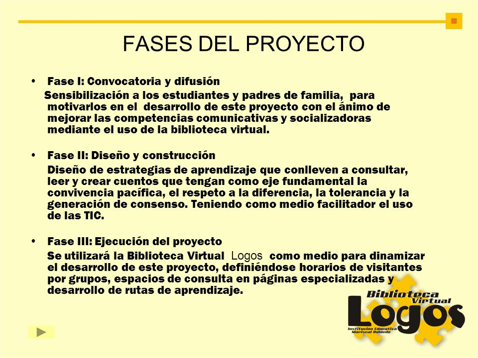 FASES DEL PROYECTO Fase I: Convocatoria y difusión Sensibilización a los estudiantes y padres de familia, para motivarlos en el desarrollo de este pro