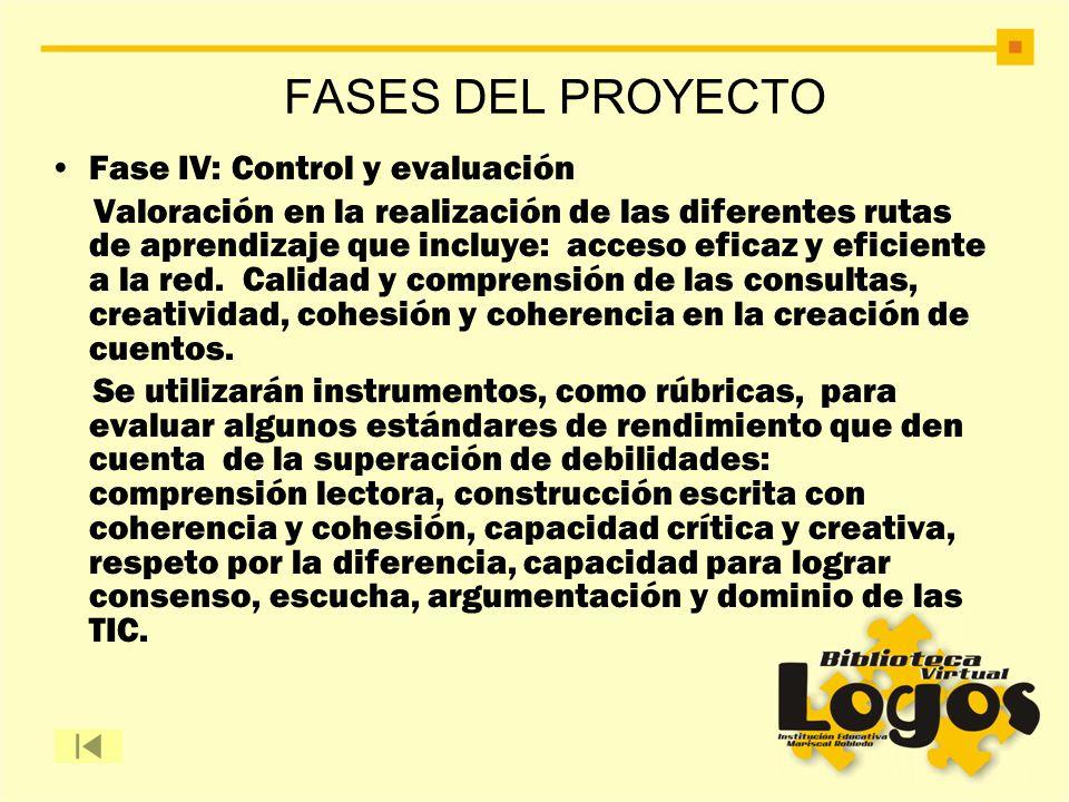 Fase IV: Control y evaluación Valoración en la realización de las diferentes rutas de aprendizaje que incluye: acceso eficaz y eficiente a la red. Cal