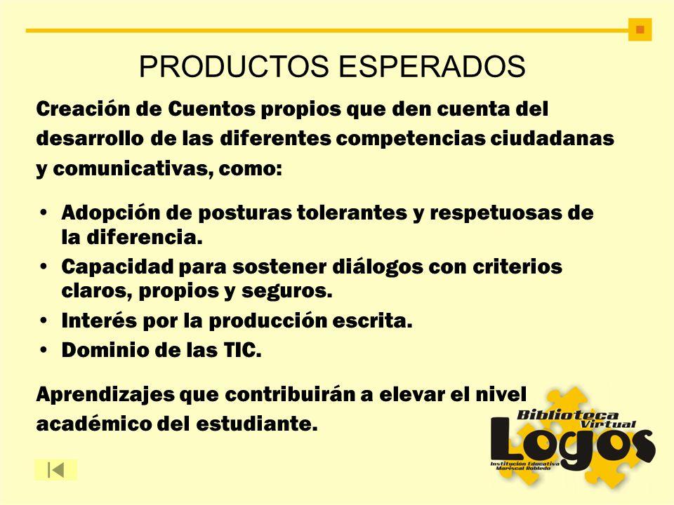 PRODUCTOS ESPERADOS Creación de Cuentos propios que den cuenta del desarrollo de las diferentes competencias ciudadanas y comunicativas, como: Adopció