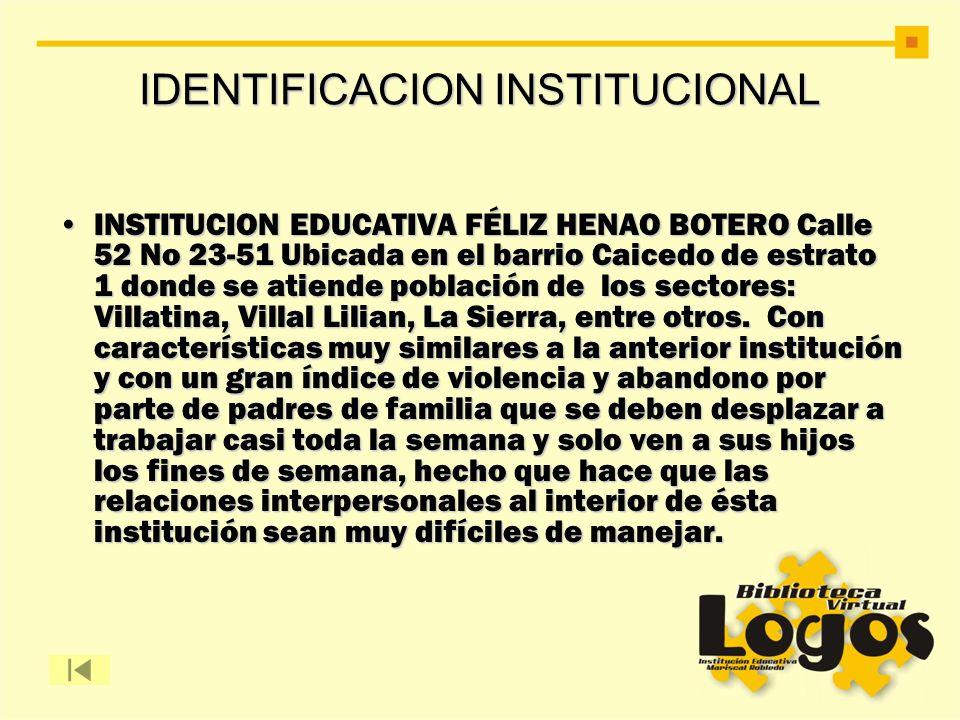 IDENTIFICACION INSTITUCIONAL INSTITUCION EDUCATIVA FÉLIZ HENAO BOTERO Calle 52 No 23-51 Ubicada en el barrio Caicedo de estrato 1 donde se atiende pob